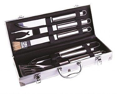 סט 5 כלים נירוסטה במזוודה פלסטיק
