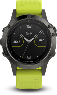 FENIX 5  אפור עם רצועה ירוקה של גרמין