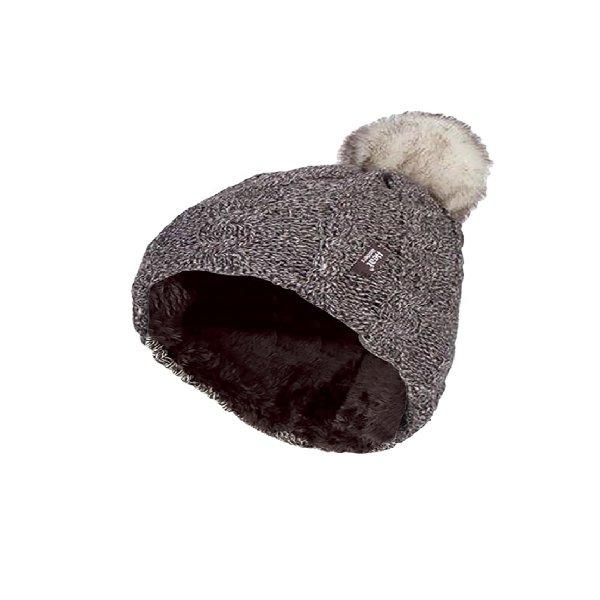 כובע גרב  נשים דגם  CABLE TURNOVER עם פונפון של HEAT HOLDERS
