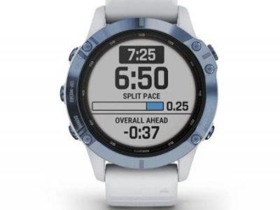 שעון לבן מינרל  GARMIN fēnix  6 - Pro Solar Edition